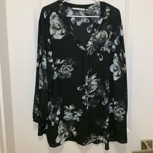 Black and White Floral Blouse Top Violet + Claire
